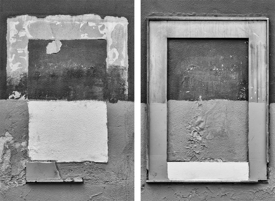 ventanas tapiadas en una pared de Xixón